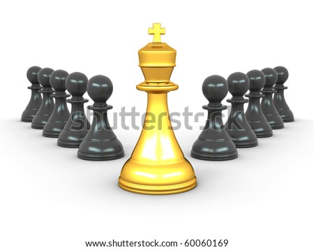 king and pawns. Leadership. 3d