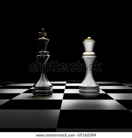 King and Queen chess isolated on black 3d render - stock photo