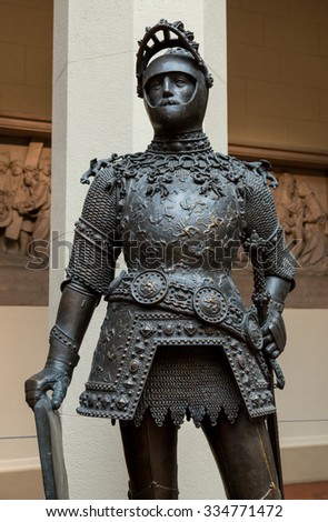 King Arthur old metal statue  - stock photo