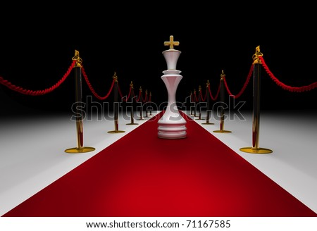 King  chess on red carpet isolated. 3d render - stock photo