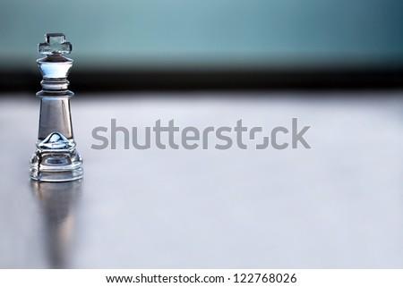 King chess piece - business concept series: -  strategy, CEO, manager, boss, strength, mentor, business coaching, business consulting and business success. Space for text  - business card design. - stock photo