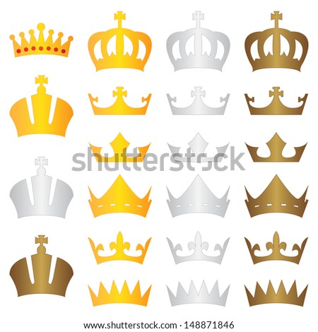 king crown gold silver bronze - stock photo