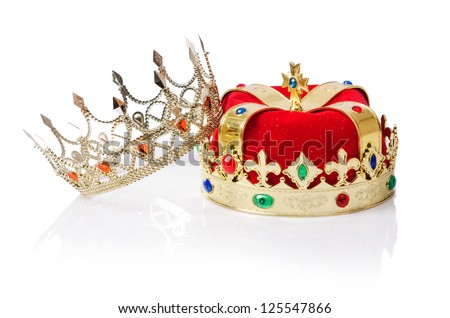 King crown isolated on white - stock photo
