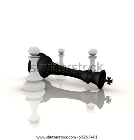 King defeated by pawns - a 3d image - stock photo
