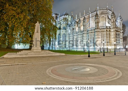 King George V statue near Westminster Abbey at London, England - stock photo