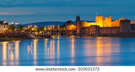 King John castle at dusk in Limerick city, Ireland - stock photo