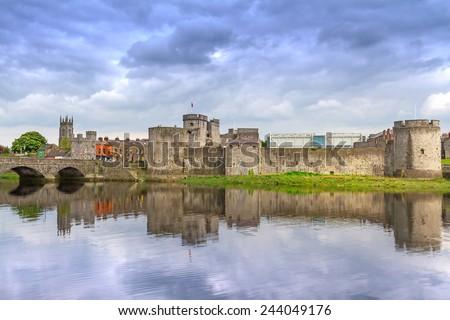King John Castle in Limerick, Ireland - stock photo