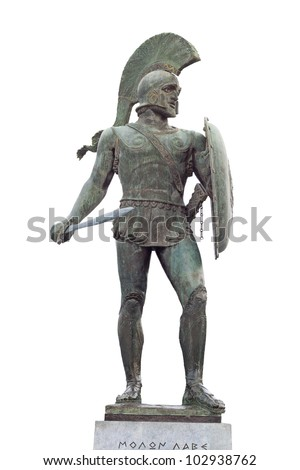 King Leonidas of the 300 soldiers. Statue found at Sparta city in Greece - stock photo
