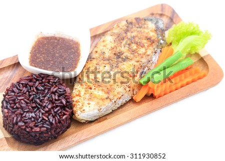 King Mackerel Steak served with carrot, yardlong bean. Clean food good for your health. - stock photo