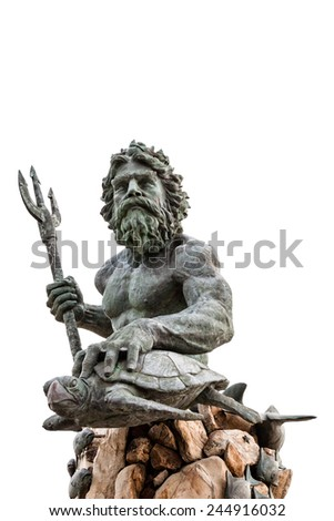 King Neptune statute, famous tourist attraction at Virginia Beach, isolated on a white background - stock photo