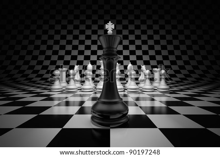 King of leader at the head of chess on chessboard - stock photo