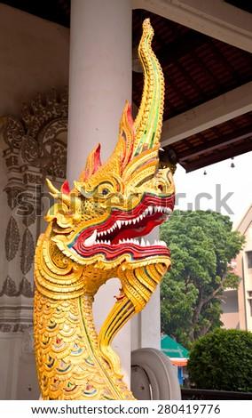 King of naga statue - stock photo