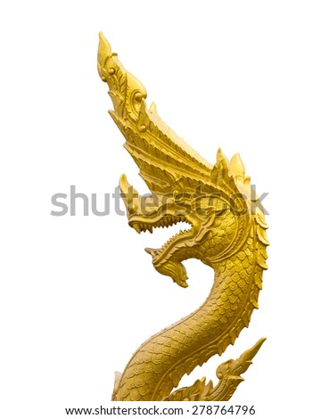 King of Naga statue ,Arts of Buddhism in Thailand isolated on white background with clipping path - stock photo