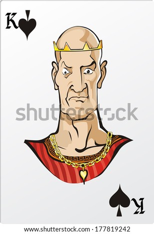 King of spade. Deck romantic graphics cards - stock photo