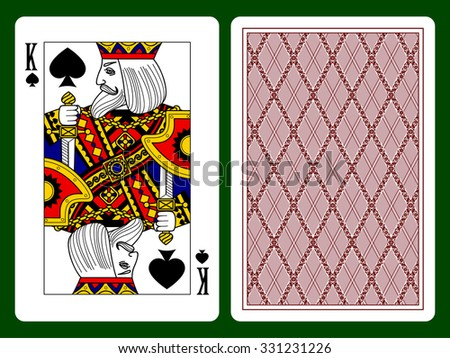 King of Spades playing card and the backside background. Faces double sized. Original design - stock photo