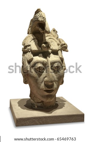 King Pakal Bust Original sculpture depicting the ancient mayan king Pakal from the The National Museum of Anthropology in Mexico City - stock photo