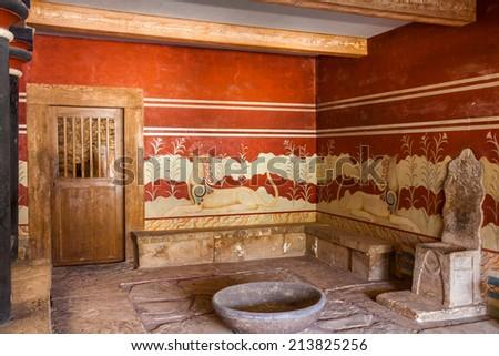 King's chamber of legendary Knossos palace, Crete, Greece - stock photo
