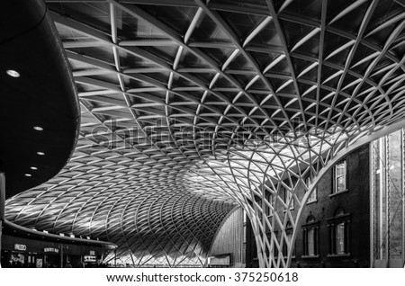 Modern Architecture In London kings cross london railway station indoor stock photo 375250618