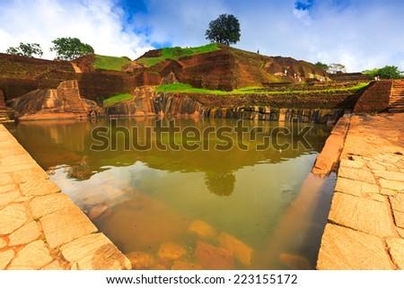 king's swimmig pool in Sigiriya, Sri Lanka - stock photo