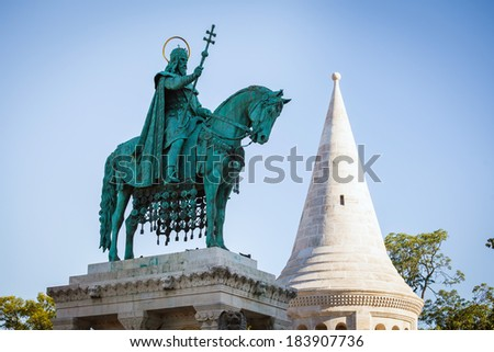 King Saint Stephen statue at Matthias Church, Budapest, Hungary - stock photo