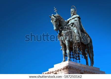 King Saint Stephen statue in Budapest, Hungary - stock photo