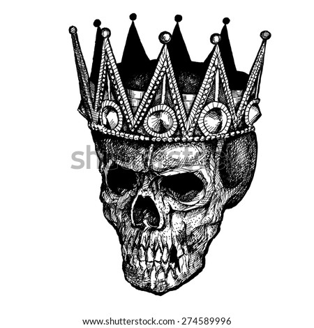 KING SCULL CROWN INK - stock photo