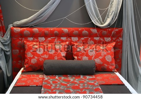 King size bed in bedroom. Bed in a bedroom. - stock photo