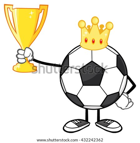 King Soccer Ball Faceless Cartoon Character With Crown Holding A Golden Trophy Cup. Raster Illustration Isolated On White Background - stock photo