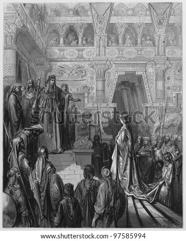King Solomon received in the palace - Picture from The Holy Scriptures, Old and New Testaments books collection published in 1885, Stuttgart-Germany. Drawings by Gustave Dore. - stock photo