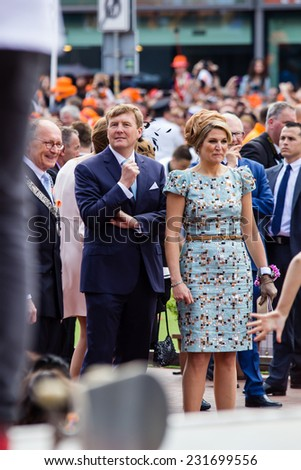 King Willem-Alexander and queen Maxima of The Netherlands, King's Day, Amstelveen, 26/04/2014