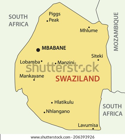 Kingdom of Swaziland - map - stock photo