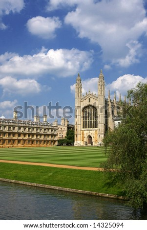 Kings' College Chapel - Cambridge University UK, Beautiful cloudy blue sky - stock photo
