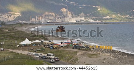 KINGSTON, JAMAICA - DECEMBER 22: American Airlines flight 331 crashed after they overshot the runway at Norman Manley International Airport, December 22, 2009 in Kingston Jamaica. - stock photo