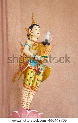 Kinnaree Decorated Lamp Street lantern in traditional Thai style. - stock photo