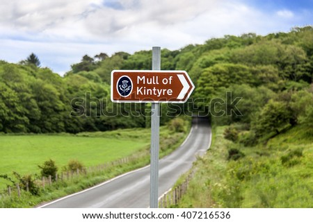 Kintyre, Scotland - June 28, 2015: Traffic sign on the street to Mull of Kintyre