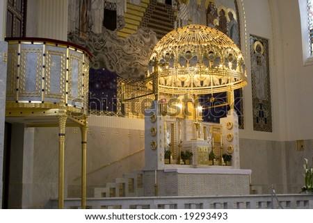 Kirche Am Steinhof (St Leopold Church)  Altar -side view - stock photo