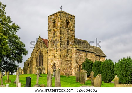 Kirk Hammerton church, North Yorkshire.  - stock photo