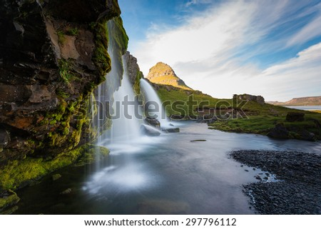 Kirkjufell Mount and waterfalls, amazing landscape in Iceland