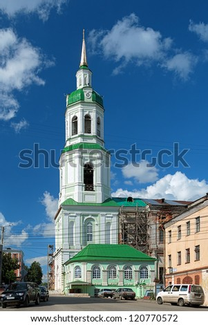 KIROV, RUSSIA - JULY 20: Cathedral of the Image of Saviour Not-Made-by-Hands on July 20, 2012 in Kirov, Russia. The cathedral was built in 1693, badly damaged after fire in 1752 and rebuilt in 1769.