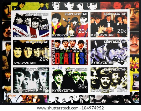 KIRZIGUISTAN - CIRCA 2001: Collection stamps printed in Kirziguistan shows the Beatles, circa 2001 - stock photo