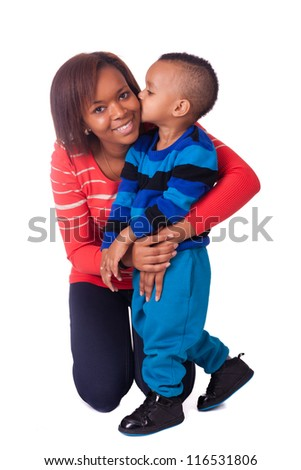 kiss mother and child african black woman children - stock photo