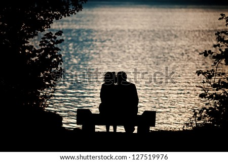 kiss on the backlight - stock photo