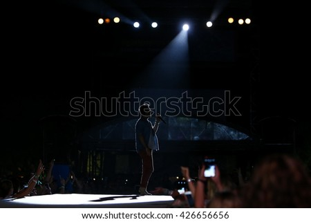 KISSIMMEE, FL-MAR 18: Singer Jake Owen performs onstage at the Runaway Country Music Fest at Osceola Heritage Park on March 18, 2016 in Kissimmee, Florida. - stock photo