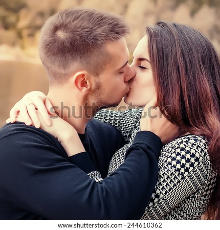kissing couple in love  - stock photo