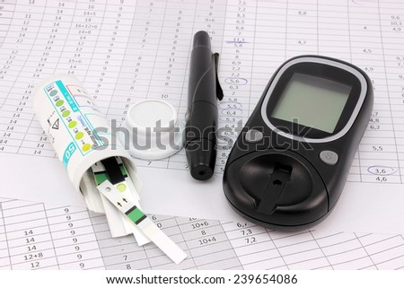 Kit for analyzing glucose levels in blood - stock photo