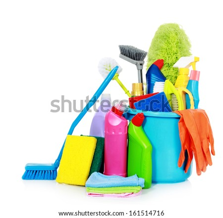 Kit for cleaning on white background - stock photo
