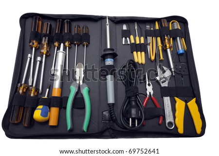 kit of electrical tools - stock photo