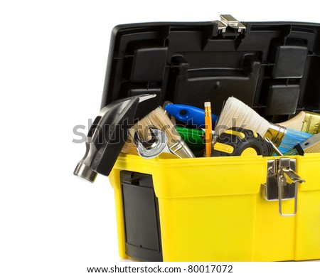 kit of tools in box isolated on white background