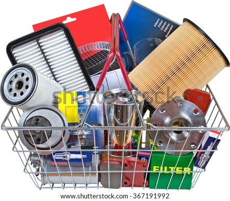 Kit parts in Shopping cart on white background with clipping path - stock photo