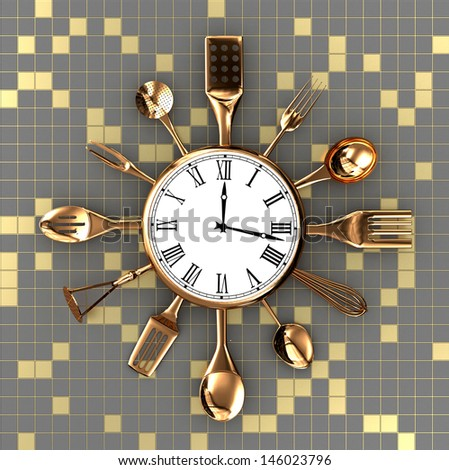 Kitchen abstract clock witch spoon and fork on creative background - stock photo